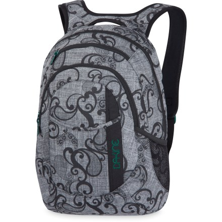 Entertainment Get ready to take on your adventurous day by filling the mid-size DAKINE Garden daypack with everything you need for school or play. Pack has lots of room to keep your gear or books inside the main pocket, and includes a padded sleeve for 14 in. and smaller laptops. Organizer pocket holds pens, phone, wallet and other supplies. Side mesh pockets hold water bottle or small umbrella. DAKINE Garden daypack has a front stuff pocket for quick access and a fleece-lined sunglass pocket. Padded back panel and adjustable yoke-style shoulder straps provide a comfortable carry; integrated carry handle. - $45.00