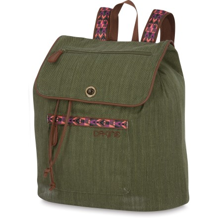 Entertainment Pretty and casual, but worth it's weight in gold, the jute DAKINE Sophia daypack has a generous capacity so you can bring along everything you'll need when you meet up with your friends. Top drawstring closure to main compartment is secured by a turn-lock flap closure. Exterior zip pockets hold quick-access items; includes interior zip stash and organizer pockets. Adjustable webbing backpack straps and carry handle; vinyl trim. Made from durable, textured jute fabric with a silky polyester fabric lining. Bottom panel of the Sophia daypack is made from rugged fabric and is lightly padded to help protect the contents; it also creates a solid base for the soft-sided pack. - $55.00