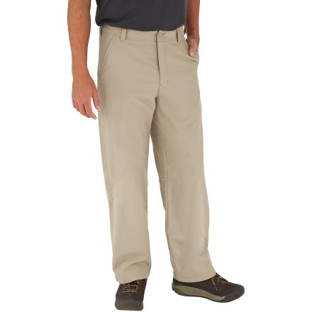 Camp and Hike Explore far-off places in comfort with the Royal Robbins Global Traveler pants with a 34 in. inseam. They resist wrinkles and stains, so they look fresh even after days of train travel. Durable Teflon(R)-treated nylon fabric resists wrinkles, stains and light moisture. Quick-drying nylon fabric features Dot-Matrix(TM) weave technology; these small dots on interior of fabric create gaps between skin and fabric, allowing air to circulate. Hidden zippered pocket on front secures sensitive travel items; front hand pockets and 2 rear pockets provide additional storage. Fabric provides UPF 40+ sun protection, shielding skin from harmful ultraviolet rays. Closeout. - $36.73