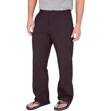 Camp and Hike Explore far-off places in comfort with the Royal Robbins Global Traveler pants with a 32 in. inseam. They resist wrinkles and stains, so they look fresh even after days of train travel. Durable Teflon(R)-treated nylon fabric resists wrinkles, stains and light moisture. Quick-drying nylon fabric features Dot-Matrix(TM) weave technology; these small dots on interior of fabric create gaps between skin and fabric, allowing air to circulate. Hidden zippered pocket on front secures sensitive travel items; front hand pockets and 2 rear pockets provide additional storage. Fabric provides UPF 40+ sun protection, shielding skin from harmful ultraviolet rays. Closeout. - $21.73
