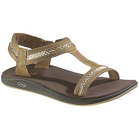 Surf Free Shipping. Chaco Women's Junction Sandal DECENT FEATURES of the Chaco Women's Junction Sandal Stretchy gore on the inside of the sandal provides hassle-free on and off, while T-strap holds foot in place 25% recycled EcoTread rubber outsole performs on wet or dry surfaces The SPECS Weight: 8.00 oz / 227 g The SPECS for Upper Full-grain leather upper with polyester jacquard webbing Pigskin linin g Cement construction Fixed fit with gore stretch The SPECS for Midsole Microsuede lined ChaPU polyether polyurethane footbed Luvseat XO2 platform The SPECS for Outsole New Chill outsole with EcoTread rubber 2.5mm lug depth All-purpose tread design Non-marking - $94.95