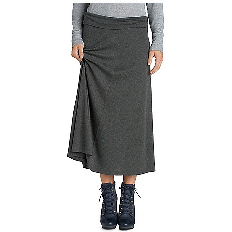 Free Shipping. Nau Women's Ribellyun Long Skirt DECENT FEATURES of the Nau Women's Ribellyun Long Skirt Soft cotton tencel blend 1x1 rib Pull on with fold over waistband Fitted at hips and flared hem Internal waist tie Length: Above ankle The SPECS A 1x1 rib knit 52% organic cotton 48% tencel blend Soft Drapey and comfortable - $119.95