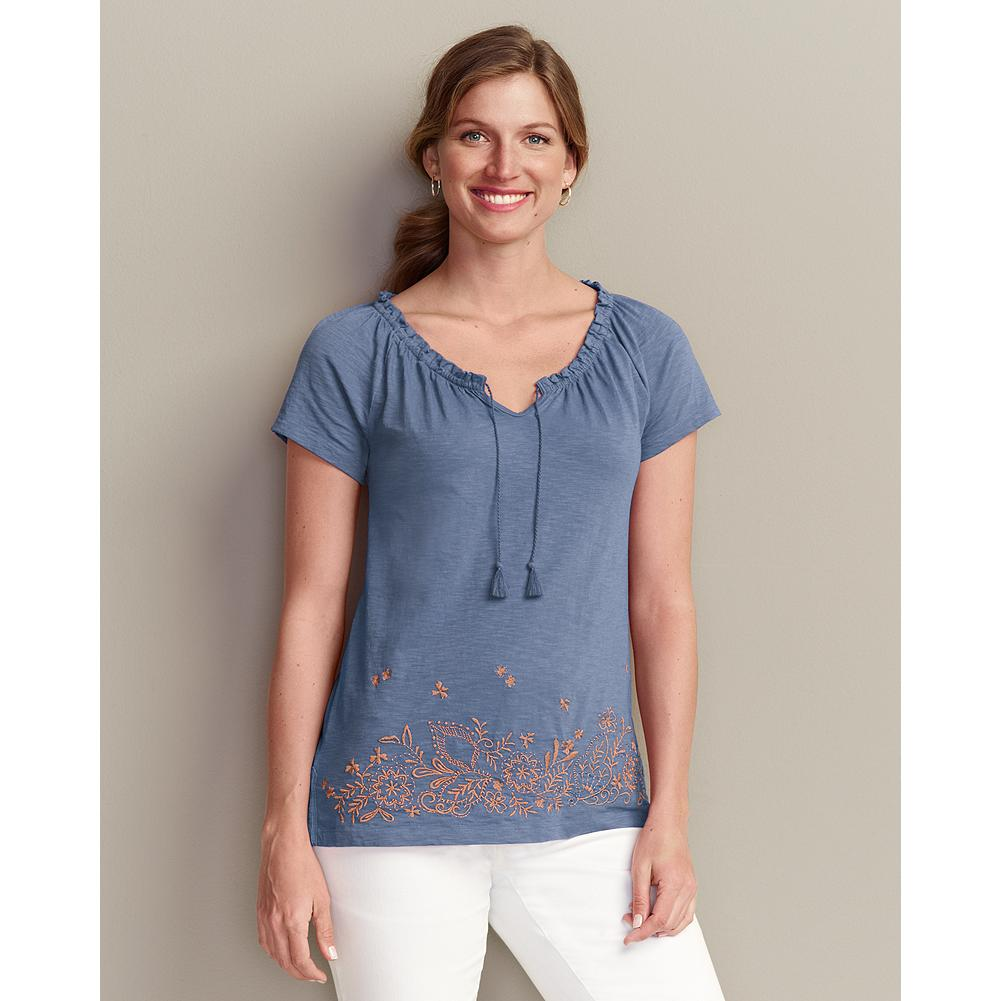 Eddie Bauer Embroidered Border T-Shirt - Light and flowing, our soft cotton T-shirt is accented with smocking details all around the neckline, and a spray of intricate embroidery at the front hem. - $9.99