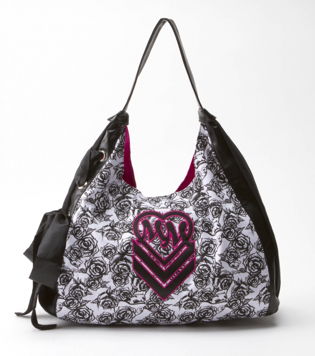 "Motorsports Metal Mulisha Maidens purse. Black canvas hobo with printed white canvas panel; black faux leather applique and trim; side lace up detail with black satin bow; and pink satin lining.17""W x 12.25""T x 4.5""D - $19.99"