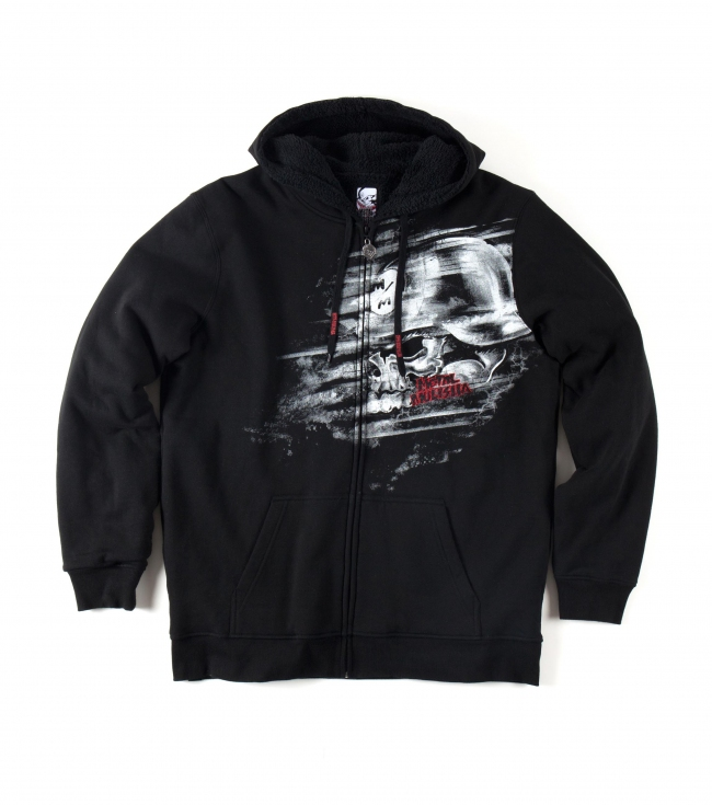 Motorsports Metal Mulisha Mens hoodie.  80% Cotton / 20% Poly.  Hooded zip fleece; sherpa lined body and hood; pouch pocket; screenprint / embroidery combo at chest. - $39.99