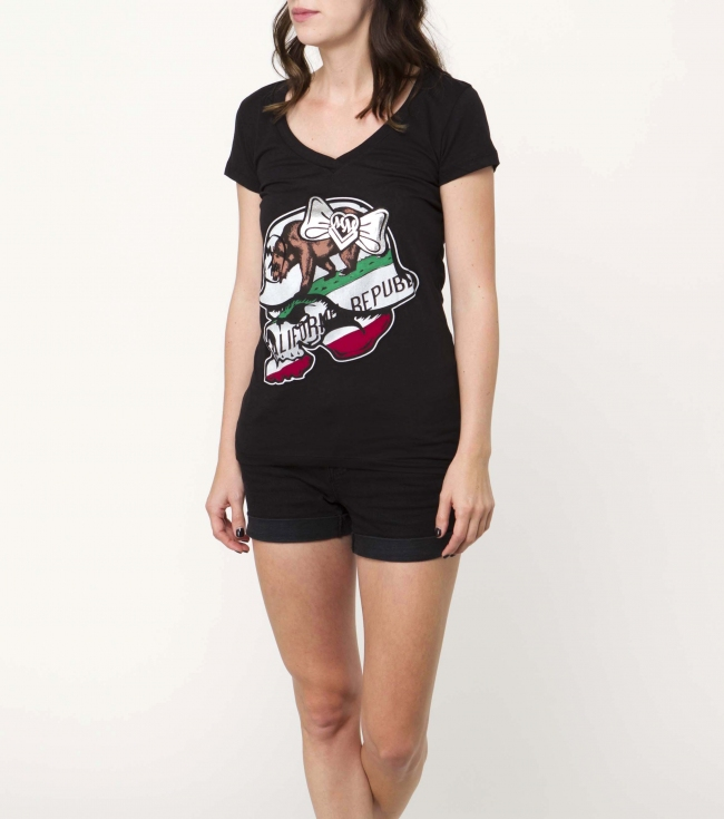 Motorsports Metal Mulisha Maidens tee.  100% Cotton. V-neck tee with screenprint. - $13.99
