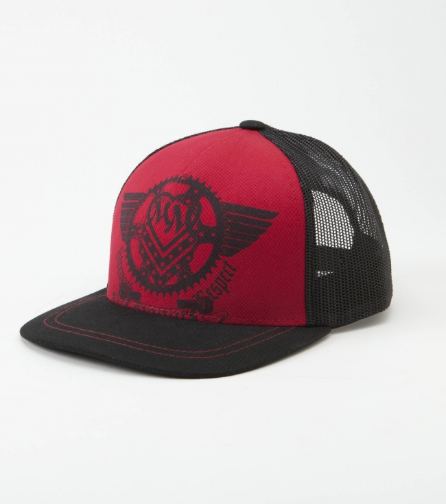 Motorsports Metal Mulisha Maidens Hat.  Snapback trucker hat with red twill front panel; black glitter screen print; black satin under visor; and custom woven label. - $20.00