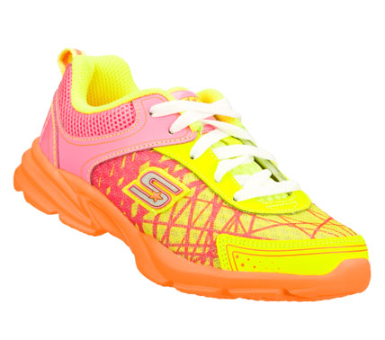 Keep her in the competition with the SKECHERS Lite Curvez - Spinouts shoe.  Smooth leather and mesh fabric upper in a lace up sporty athletic training sneaker with stitching and overlay accents. - $37.00