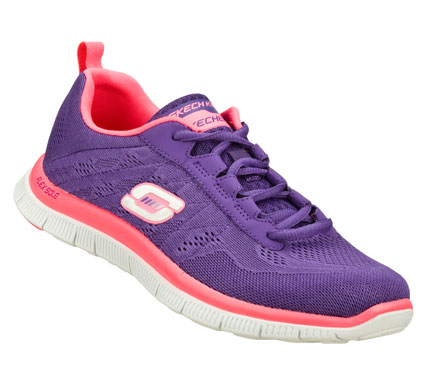 Fitness Hit just the right combination of comfort and sporty style with the SKECHERS Flex Appeal - Sweet Spot shoe.  Unique knit mesh fabric upper in a lace up sporty athletic training sneaker with stitching and overlay accents. - $70.00