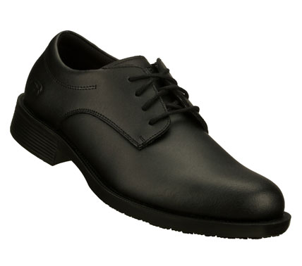 Style and all-day comfort combine in the SKECHERS Work: Executive SR shoe.  Smooth leather upper in a lace up dress plain toe oxford with slip resistant sole and EH safe construction. - $60.00