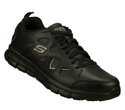 Sporty style and superior comfort combine in the SKECHERS Work: Synergy SR - Tal shoe.  Smooth leather upper in a lace up athletic inspired casual slip resistant work sneaker with stitching and overlay accents. - $82.00