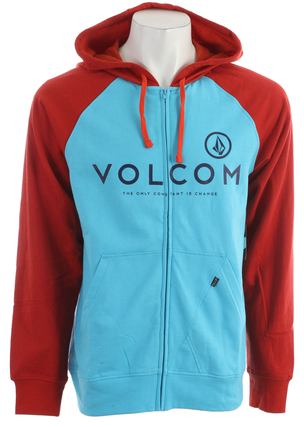 Surf Key Features of the Volcom Constant Change Hoodie: Heather slim zip hood Center chest print Contrast hood and raglan sleeves 2-Tone Drawcords Stone panel pocket detail Pre-Shrunk Slim fit 55% Cotton / 45% Polyester Heather Fleece, 220-230gm - $35.95