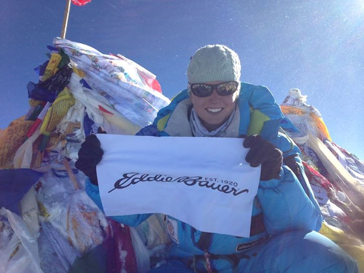 Camp and Hike The official summit shot from Melissa Arnot's record fifth summit to cap off this year's Everest season at Eddie Bauer. 