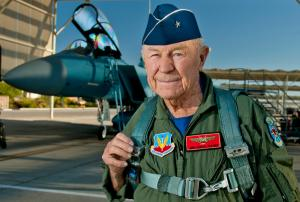 "Guns and Military On October 14, Brigadier General Charles ""Chuck"" Yeager completed a celebratory flight to mark the anniversary of his historic first supersonic flight. In pure Air Force fashion, Yeager, now 89, broke the sound barrier 45,000 feet over the Edwards Air For"