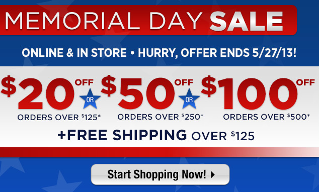 Golf Shop our Memorial Day Sale! Take $20 off orders over $125, $50 off orders over $250, $100 off orders over $500 + Free Shipping on orders over $125. Online & In Store. Hurry, offer ends 5/27/13! Shop here: http://bit.ly/12xGYR0