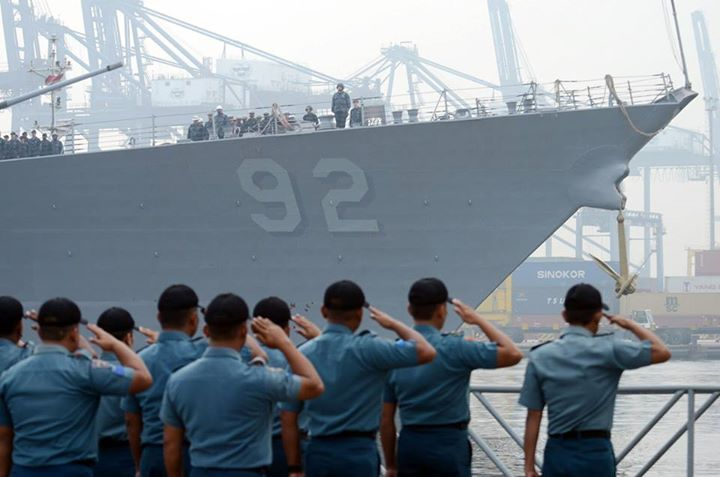 Guns and Military (May 21, 2013) Republic of Indonesia Navy sailors render honors as the guided-missile destroyer USS Momsen (DDG 92) arrives in Jakarta, Indonesia. Momsen is one of several U.S. Navy ships participating in Cooperation Afloat Readiness and Training (CARAT)