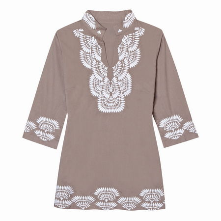 Entertainment Langley Caftan latte. This embroidered, tunic length caftan is fashioned from soft organic cotton fabric in a shape that's easy to throw on and go, but elegant enough to wear dining al fresco on balmy evenings.Split neck with a mandarin collar. 3/4 length sleeves. Contrast embroidery. Relaxed fit - our roomiest fit that falls away from the body. 29 length falls below the hip. 100% organic cotton lawn. Machine wash. Imported. - $39.50