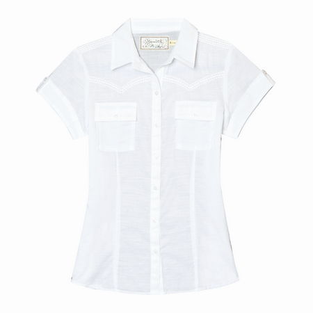 Entertainment Taryn Short Sleeve Top white. Delight your inner cowgirl with this button front shirt dress where city chic meets country cool thanks to charming details like tonal embroidery that cheats a western yoke, chest pockets and button tab details on the short sleeves. We're sure it'll corral all kinds of compliments.Full button front with fold down collar. Short sleeves with button tab detail. Tonal embroidery creates the look of a western yoke. Chest pockets. Princess seaming creates a flattering silhouette. Ultra lightweight 100% organic cotton dobby. Classic fit - Not too tight, but not too loose. Cut to flatter a woman's shape. Machine wash. Imported. - $28.50