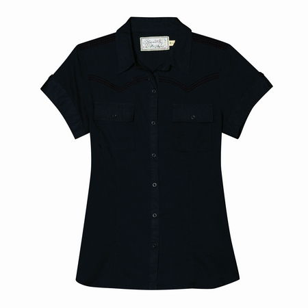 Entertainment Taryn Short Sleeve Top black from Aventura. Delight your inner cowgirl with this button front shirt dress where city chic meets country cool thanks to charming details like tonal embroidery that cheats a western yoke, chest pockets and button tab details on the short sleeves. We're sure it'll corral all kinds of compliments.Full button front with fold down collar. Short sleeves with button tab detail. Tonal embroidery creates the look of a western yoke. Chest pockets. Princess seaming creates a flattering silhouette. Ultra lightweight 100% organic cotton dobby. Classic fit - Not too tight, but not too loose. Cut to flatter a woman's shape. Machine wash. Imported. - $28.50