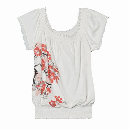 Entertainment Cherry Blooms Tee white. Like a breath of fresh air, the whimsical cherry blossom print on this top is just what you need to shake off those winter blues.Smocked neckline and waistband. Flutter sleeves. Relaxed fit - our roomiest fit that falls away from the body. 52 cotton/48 polyester jersey. Machine wash. Imported. Please note: The color black is not a true black, but a dark charcoal gray. - $28.50