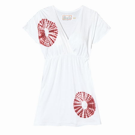 Entertainment Mosley Tunic white. It's so easy to get out the door in the morning when you have versatile, easy to wear pieces like this in your wardrobe. Layer it over your favorite cami and pair it with jeggings for a casual on-the-go outfit. It also doubles as a swim cover-up!Fun tie-dye accents. Crossover deep v-neckline. Universally flattering gathered empire waist. Gathered cap sleeves. Relaxed fit - our roomiest fit that falls away from the body. Appoximate 33 length, size M. 100% organic cotton single jersey. Machine wash. Imported. - $31.00