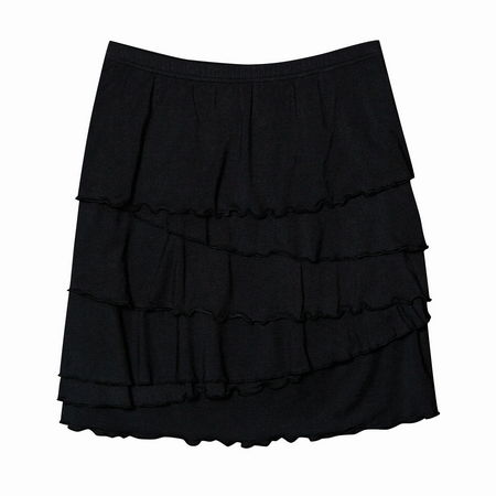 Entertainment Ali Skirt black. With skirt season fast approaching, tuck this pretty piece into your closet. Super-soft fabric features tiers of ruffles that will give a little va va voom to your wardrobe.Pull on styling with comfortable elastic waistband. Tiers of ruffled fabric will put a little swing in your step. Classic fit - not too tight, but not too loose; cut to flatter a woman's shape. Approximate 18 length, size M. 48 rayon from bamboo/47 modal/3 spandex. Machine wash. Imported. - $29.50
