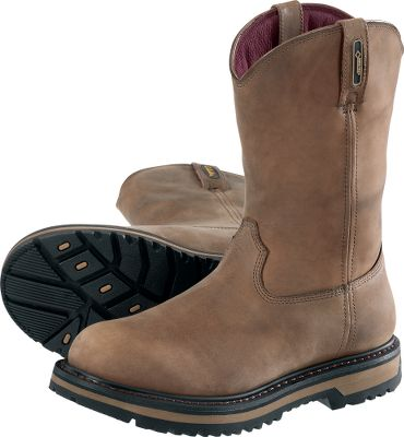 These 11 Wellington Steel-Toe, Roughneck Shock-Absorbing Work Boots (S.A.W.) are comfortable, durable work boots. We placed incredibly soft, shock-absorbing foam where your feet come in direct contact with the ground the heels and forefeet. Removable polyurethane footbeds for added cushioning. Crafted of premium leather, the contoured uppers reduce pinch points. Padded and vented collars, tongues and achilles areas. Waterproof, breathable GORE-TEX membranes. Oil- and slip-resistant rubber outsoles are attached using Goodyear welt construction. Heel angle is designed for use on ladder rungs and stepping on shovels. Steel shanks for increased rigidity. Steel-toe boots are ASTM C/75 I/75-certified. Imported. Avg. wt: 3.7 lbs. Ht: 10. Mens sizes: 8-15 D width; 8-14 EE width. Half sizes to 12. Color: Brown. Size: 9.5. Color: Brown. Gender: Male. Age Group: Adult. Material: Leather. - $99.88