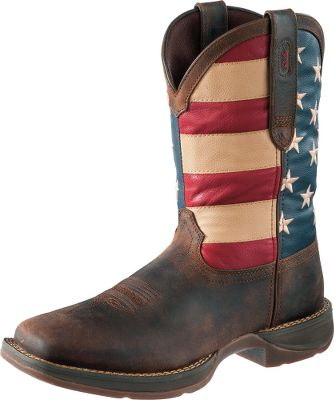 Guns and Military All you have to do to show your patriotism is pull on these 12 Rebel by Durango Patriotic Pull-On Western Boots. The feet and trim are made of oiled, dark brown full-grain leather. Square toes add a traditional flair to these Western boots. The shafts proudly display United States flags. Footbeds provide cushioning, ease the weight of your steps and circulate air within the boots. Tempered steel shanks provide stability. Double-row welt stitching adds additional durability. The Rebel heels are a low 1-3/8 to help you maintain a steady stride. Imported. Ht: 12. Mens sizes: 8-13 D and EE widths. Half sizes to 12. Color: Brown/Union Flag. Size: 13. Color: Brown/Union Flag. Gender: Male. Age Group: Adult. Material: Leather. - $99.99