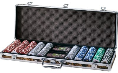 Hunting Go all-in Cabelas style. This professional-grade poker set comes in a high-quality latched case covered in Seclusion 3D camo that contains everything you need for an evening of fun at the lake cabin, hunting lodge or home. Includes two decks of cards, big blind, little blind and dealer buttons, five dice and 500 casino-quality heavyweight 11-1/2-gram clay composite chips that sport images of elk, moose, whitetail, mule deer and antelope on one side and the Cabelas logo on the other. Case measures: 8-1/2 x 23 x 3. Color: Camo. Type: Board & Other Games. - $71.88