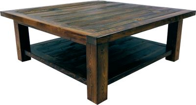 Entertainment Kick up your feet on this rustic table thats part of the Wyoming Furniture Collection. Made of weathered barn wood, this coffee table resists wear and tear and gains a richer look over time. Made in USA. Available: 36L x 36W x 18H 48L x 48W x 18H Note:Dimensions are approximate due to slight inherent variations in lumber. - $999.99
