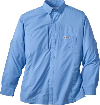 With nothing to catch your nets on, Columbias Blood and Guts Bait Netter Long-Sleeve Shirt is designed with an airy, relaxed fit for all-day comfort on the water. Omni-Shield Blood and Guts advanced repellency resists stains and odors. Omni-Shade technology delivers a UPF rating of 50 for protection against the sun. Vented back allows cool air to circulate. Sunglasses cleaning patch. Imported. Sizes: M-2XL. Colors: Gulf Stream, White Cap. Size: X-Large. Color: White Cap. Gender: Male. Age Group: Adult. Type: Long-Sleeve Shirts. - $80.00