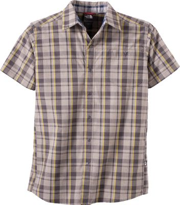 Climbing This 60/40 cotton/polyester yarndye plaid The North Face Orangahang Woven Short-Sleeve Shirt is a lightweight, yet durable go-to choice for spring activities. It has underarm and side gussets for ease of movement thats especially useful when hiking, climbing and gripping handholds. It features a UPF rating of 50 for sun protection, snaps at chest pocket closure and front placket, sun-collar stand, and inner-collar contrasting plaid detail. Imported.Sizes: M-3XL.Colors: Citronelle Green Plaid, Nautical Navy Plaid. - $24.88
