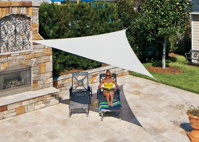 Camp and Hike Youll love the massive amount of shade created by the Coolaroo Ready-To-Hang 1110 Shade Sail. The large and super-durable triangle shade sail is made of high-density, UV-stabilized polyethylene, so it resists mold, mildew and stains. Not only that, its knitted and breathable fabric does not trap heat and humidity, reducing ambient temperature. Lightweight and portable, it compacts to fit in a backpack. The included 20-ft. nylon ropes attach to each double-stitched corner for stability. Cleans quickly with garden hose. Easy to install, no tools required. Imported.  1110L x 1110W. Colors: Mocha, Pebble. Color: Pebble. - $49.99