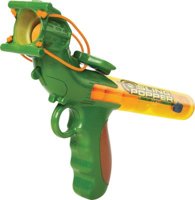 Aim true and let it fly with the Bullseye Sling Popper. Just pull back the soft-foam hammer to launch a foam ball over 40 ft. Auto-load design can hold up to six foam balls (included). Ages 4 and up.Dimensions: 11.5L x 2W x 7H. Type: Shooting Toys. - $11.24