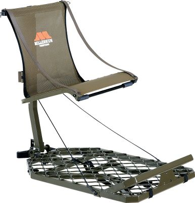 Milleniums largest Hang-On treestand, the M150 Monster, boasts the patented ComfortMAX contoured sling seat and lightweight, powder-coated aluminum construction. Treestand adjusts up to 15 for optimized stability when attached to leaning trees. Height-adjustable seat folds up for standing shots. Hang-On treestand folds flat for backpacking and includes shoulder staps for easy carry. Includes the CamLock ratchet strap receiver for quick, easy hanging. Stands are tested to TMA standards and include a full-body safety harness with Suspension Relief System (SRS). Seat height: 16-20. Seat size: 20W x 17D. Platform size: 37L x 24W. Weight: 19.5 lbs. Weight capacity: 300 lbs. A Video Public Service Announcement from the TREESTAND MANUFACTURERS ASSOCIATION - $249.99