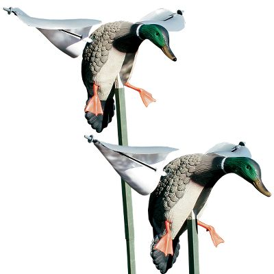 Hunting Double your spreads motion with the Mojo Decoys Wind Duck Two-Pack. These wind-driven, spinning-wing decoys are lightweight, dependable and dont require batteries. Their reliable design guarantees hassle-free use, and are an ideal option in places where motorized decoys are not allowed. Smooth-spinning wings turn in breezes as light as 5 mph. Wind Ducks use the same rugged and realistic decoy bodies as the standard Mojos. Includes two 31 inch mounting stakes. Type: Mallard Duck Decoys. - $59.99