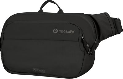 Camp and Hike The hassle and worry of carrying travel essentials wont weigh you down with this big-enough-for-a-guidebook Pacsafe Anti-Theft Hip Pack. Youll rest assured your personal information is safe from would-be identity thieves thanks to the newly added RFIDsafe blocking pocket. The Pacsafes front side and bottom panels have eXomesh Slashguard for theft prevention. For further protection, it has a Slashproof Carrysafe shoulder strap, tamper-proof Smart Zipper Security and dual-release security buckle. To hold your valuables, this Pacsafe Anti-Theft Hip Pack has a zippered main compartment with mesh zip pocket, a zippered front pack, phone pocket, key/wallet ring and a handy pen holder. Imported.Dimensions: 9.4L x 3.1W x 6.1H.Weight: 9.2 oz.Color: Black. - $36.00