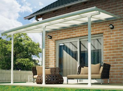 Camp and Hike The Palram Feria 4200 Patio Cover turns your backyard into the perfect entertainment venue come rain or shine. An integrated gutter system directs water away from your patio, plus its virtually unbreakable, clear polycarbonate panels protect from harmfulUV rays while still letting light through. Powder-coated aluminum frame is rust-resistant, simple to clean and easy to assemble. Roof panels easily stay in position and click into place.Dimensions: 14.1L x 9.6W x 9.9H. Type: Patio Furniture. - $2,099.99