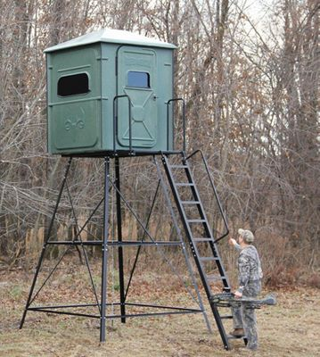 A roomy solution for two hunters, The Stalker Gun Blind is made of 100% fiberglass with a maintenance-free gel coat that withstands the elements. Tinted tempered glass windows conceal movement and sound. Drip eaves and drip covers over the window keeps water out. Marine-grade carpet covers the floor and lower walls for complete silence. Conveniently placed shelves and gun holders. Keep your gear organized. Automotive-window gaskets and molding keep the interior of the blind dry and pest-free. Dark green color with tan flecking blends in well with most surroundings. Seamless construction contains scent and noise.Exterior dimensions: 72L x 48W x 82H.Window size: 9.5H x 27.25W. - $1,499.99
