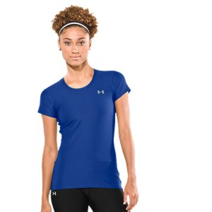 Fitness The shortsleeve T-shirt, made better by UA performance. The Women's Fitted HeatGear(R) Shortsleeve T-shirt was built for a close-to-the-body fit, but without the squeeze of compression. This cuts wind resistance and works perfectly for layering. Add quick-dry construction, 4-way stretch for superior mobility, and built-in odor protection, and you get a game-changing T-shirt built to take on anything the day has in store. Soft, slightly textured fabric dries quick to deliver unbelievable performanceLightweight, 4-way stretch fabrication improves mobility and accelerates dry time, while maintaining shapeSignature Moisture Transport System wicks sweat to keep you cooler and drierAnti-odor technology prevents the growth of odor-causing microbes, keeping your T-shirt fresher, longerErgonomic seams and feminine cap-sleeve design deliver superior mobilityIridescent front logo for extra flashPolyester/ElastaneImported - $21.99