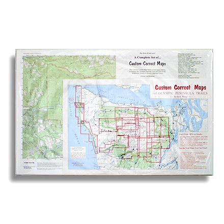 Custom topographic map, set to the trails of Olympic National Park and the Olympic Peninsula--specially formatted for hikers and climbers - $85.00