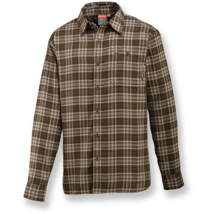 Thanks to the lightweight, breathable fabric and casual style of the Merrell Micah shirt, you can enjoy a day on the trails and then meet up with friends for dinner without needing to change. Polyester flannel fabric wicks moisture away from your skin and dries quickly for continual comfort. Integrated UPF 20 sun protection shields skin from harmful ultraviolet rays. Closeout. - $39.73