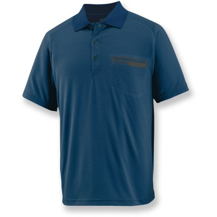 The Merrell Geo Polo shirt features classic polo styling and soft, synthetic fabric so you look sharp and stay comfortable when traveling, all the way from take-off to touchdown. Quick-drying, moisture-wicking polyester keeps your skin dry and cool and is blended with a touch of elastane for ample stretch. Fabric provides UPF 20 protection from harmful ultraviolet rays. Offset shoulder seams are smooth under backpack straps. Merrell Geo Polo shirt features a chest pocket to hold small essentials. Closeout. - $18.73