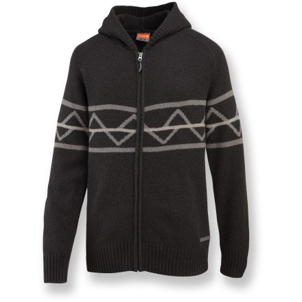 The Merrell Vendemmia Hoodie sweater features a warm wool-blend fabric, raglan sleeves, a Scandinavian-inspired pattern and relaxed fit. Soft wool blend knit fabric is soft, breathable, warm and comfortable. Continuously-knit raglan sleeves allow total freedom of movement with no binding or pulling. Rib-knit cuffs and hem hug just right; flip-up hood warms in a pinch. Merrell Vendemmia sweater features a full-length zipper. Closeout. - $78.73