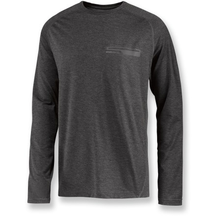 Camp and Hike The Merrell Geo long-sleeve crew shirt easily handles outdoor adventure thanks to lightweight, breathable fabric that stays comfortable even when your walk in the woods turns into a strenuous hike. Quick-drying, moisture-wicking polyester is blended with a touch of elastane for ample stretch. Fabric provides UPF 20 protection from harmful ultraviolet rays. Raglan sleeves allow unhindered shoulder movement. Offset shoulder seams are smooth under backpack straps. Merrell Geo long-sleeve crew features a chest pocket to hold small trail essentials. Closeout. - $19.73