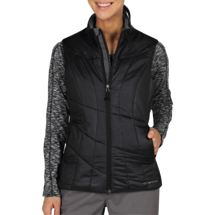 The ExOfficio Storm Logic women's vest offers lightweight insulation and also packs down into a travel pillow so you can catch a few winks while you're en route. Soft PrimaLoft(R) Sport synthetic insulation feels like goose down but continues to insulate even if wet; it dries quickly, too. Durable 20-denier ripstop polyester shell is windproof, yet breathable; Durable Water Repellent finish causes water to bead up and roll off. Built-in stuff sack allows ExOfficio Storm Logic vest to roll into a travel neck pillow. Internal travel pocket system includes boarding pass pocket, plush-lined eyewear pocket, cell phone/electronics pocket and keychain lanyard. Draft flap backs front zipper; microfleece-lined collar is soft and wicking. Drawcord hem; handwarmer pockets; zippered chest pocket. Closeout. - $79.73
