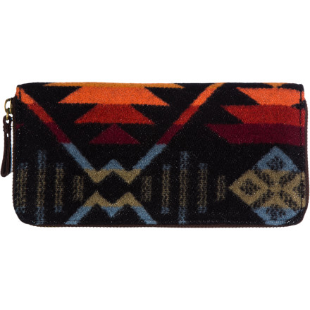 Entertainment Keep it neat and lean with the Pendelton Women's Zipper Wallet. With streamlined style and a cheery, earthy print, this wallet brightens up any purse or outfit. Wool and cotton canvas boasts a delightful design, while a practical, zippered wallet lets you keep those bills crisp and comfy. - $117.95
