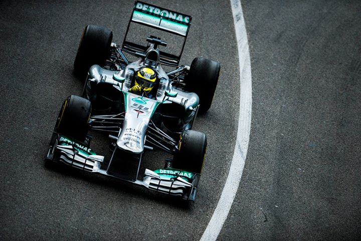 Motorsports MERCEDES AMG PETRONAS F1 driver Nico Rosberg sticks it on pole under grey skies in Monaco.