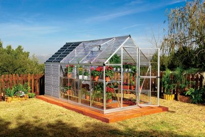 Camp and Hike Get two structures for the price of one. The Grow Store 6-ft. x 12-ft. Greenhouse has space for your plants and flowers, and storage space for your gardening tools. Ideal for all your plants, the greenhouse features clear, virtually unbreakable SnapGlas polycarbonate panels that let sunlight in. Heavy-duty, corrosion-resistant aluminum frame provides seasons of protected growth. Storage shed panels are colored polycarbonate to keep your tools out of view and protected from sun damage. Easy assembly with sliding-panel system.Dimensions: 12L x 6W x 68H.Weight: 139.5 lbs. Type: Greenhouses. - $1,699.99