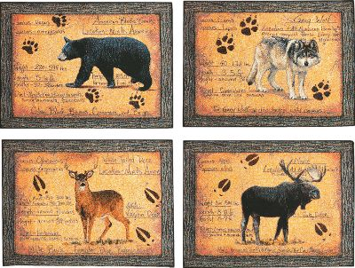 Hunting Take a taste of the outdoors to the dinner table with these Western-themed Manual Woodworkers Placemats. Machine washable. Lay flat to dry. Per 4. Made in USA.Dimensions: 18 x 12-1/2.Available:Animal Instinct Woven tapestry placemat set with rustic design includes one black bear, grey wolf, whitetail deer and moose.Western Star Barbed-wire-framed, simple star design complements the muted earth tones of these placemats with woven tapestry front and cotton backs.Star Pattern Large star focal point is accented by rope and horseshoes on a bright red background. Woven tapestry placemats have 65/35 cotton/polyester fronts and 100% polyester backs. Artwork by Jennifer Brinley. Type: Linens & Accessories. Style Animal Instinct. - $29.99